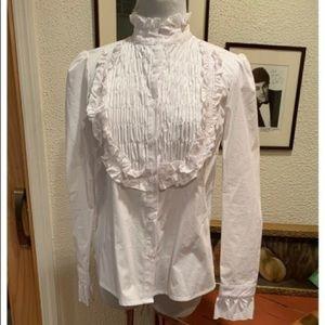 Moelleux White ruffle Shirt
